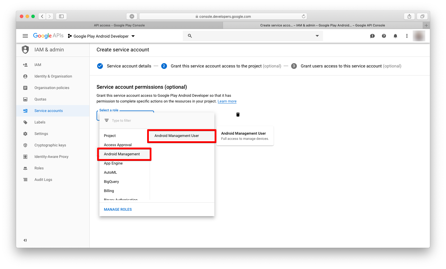 SDK Security settings on the Dashboard