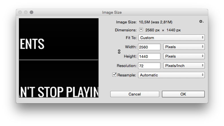 photoshop image size settings